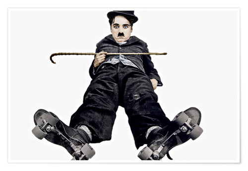 Premium poster Charlie Chaplin with roller skates