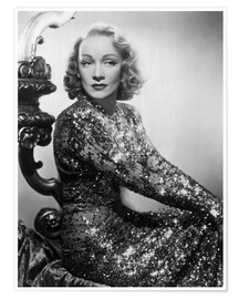 Premium poster Marlene Dietrich in a sequined dress