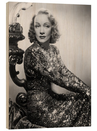 Wood print  Marlene Dietrich in a sequined dress
