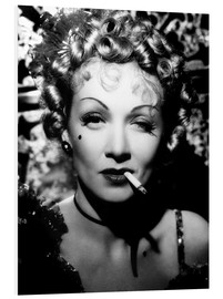 Foam board print  Marlene Dietrich with a cigarette