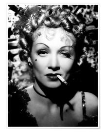 Premium poster Marlene Dietrich with a cigarette