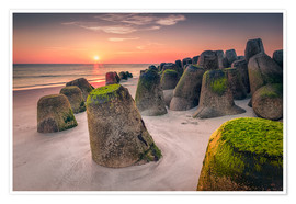 Premium poster Tetrapods at sunset (Hoernum/Sylt)