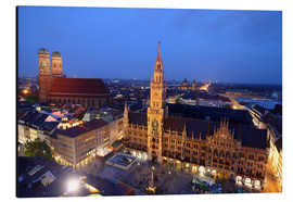 Aluminium print  Church of our Lady and the new town hall in Munich at night - Buellom
