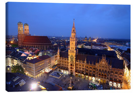 Canvas print  Church of our Lady and the new town hall in Munich at night - Buellom