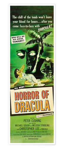 Premium poster HORROR of Dracula, Melissa Stribling, Christopher Lee 1958
