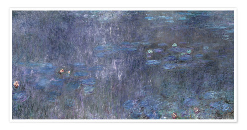 Premium poster Water Lilies, Reflection of trees 2