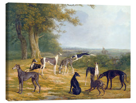 Canvas  Nine Greyhounds in a Landscape - Jacques Laurent Agasse