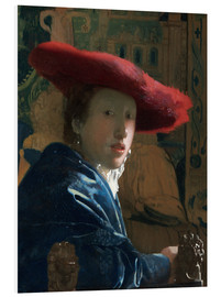 Foam board print  Girl with red hat - Jan Vermeer