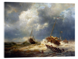 Acrylic print  Ships in a storm on the Dutch coast, 1854 - Andreas Achenbach