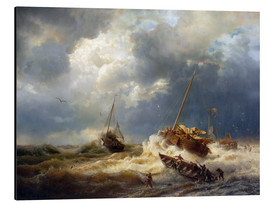 Aluminium print  Ships in a storm on the Dutch coast, 1854 - Andreas Achenbach