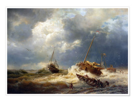 Premium poster  Ships in a storm on the Dutch coast, 1854 - Andreas Achenbach