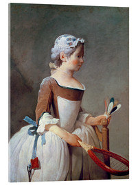 Acrylic print  Girl with Racket and Shuttlecock - Jean Simeon Chardin