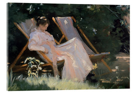 Acrylic print  Roses. Marie Krøyer seated in the deckchair in the garden by Mrs Bendsen's house, detail - Peder Severin Krøyer