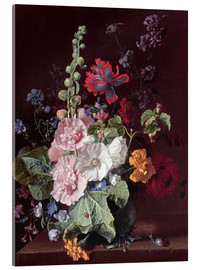 Acrylic print  Mallows and other flowers in a vase, 1702-20 - Jan van Huysum