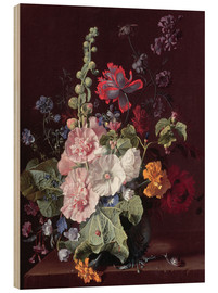 Wood print  Mallows and other flowers in a vase, 1702-20 - Jan van Huysum