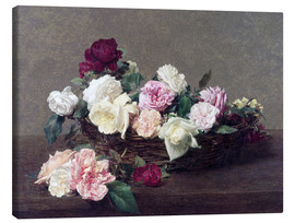 Canvas print  Basket with roses - Henri de Fantin-Latour