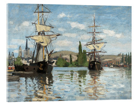 Acrylic print  Ships on the Seine at Rouen - Claude Monet