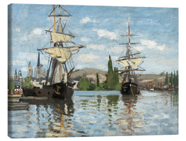 Canvas print  Ships on the Seine at Rouen - Claude Monet