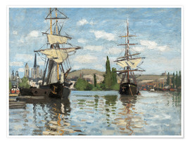 Premium poster  Ships on the Seine at Rouen - Claude Monet