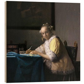 Wood print  A Lady Writing - Jan Vermeer