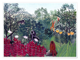 Premium poster  Tropical forest with monkeys - Henri Rousseau
