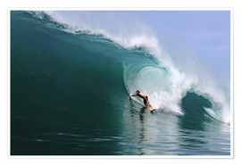Poster Surfing in a huge green wave, tropical island paradise