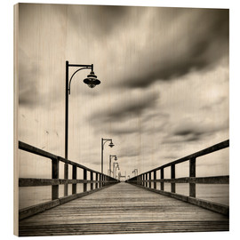 Wood print  sea bridge with seagulls | sw - Mario Benz