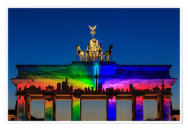 Premium poster Berlin skyline at the Brandenburg Gate