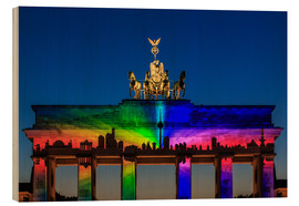 Wood print  Berlin skyline at the Brandenburg Gate - Frank Herrmann