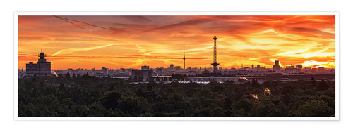 Poster Berlin Skyline Sunset - Panorama