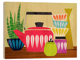 Wood print  Still life with kettle - Elisandra Sevenstar