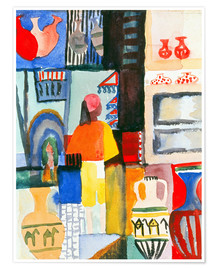 Premium poster  Merchant with jugs - August Macke