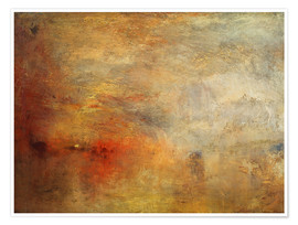 Poster  Sunset over a lake - Joseph Mallord William Turner