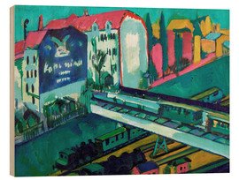 Wood print  Tram and railway - Ernst Ludwig Kirchner