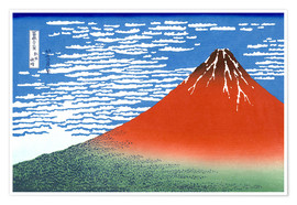 Premium poster  Mt. Fuji in clear weather - Katsushika Hokusai