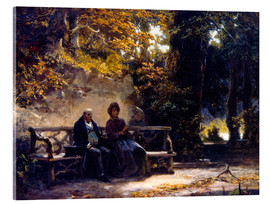 Acrylic glass  The couple on the bench - Carl Spitzweg