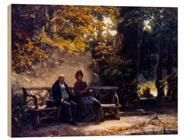 Wood print  The couple on the bench - Carl Spitzweg