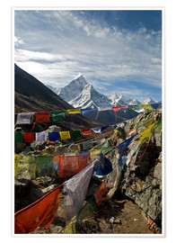 Premium poster Prayer flags and Ama Dablam
