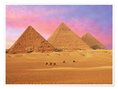 Premium poster Giza Pyramids at sunset