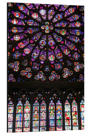 Aluminium print  Stained glass windows of Notre-Dame Cathedral. - Kymri Wilt