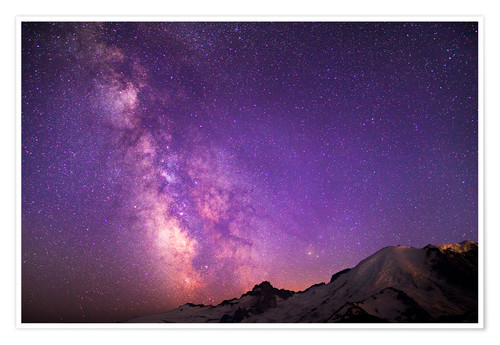 Premium poster Milky way at the violet sky