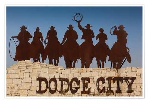 Poster Sign for Dodge City with cowboy silhouettes