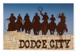 Premium poster  Sign for Dodge City with cowboy silhouettes - Walter Bibikow