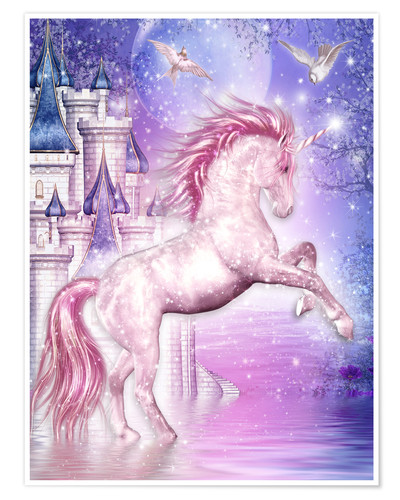 Premium poster Pink Magic Unicorn