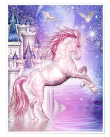 Premium poster  Pink Magic Unicorn - Dolphins DreamDesign