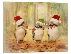 Wood print  Kookaburra Christmas - Selina Morgan