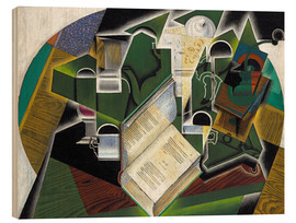 Wood print  Still life with a book and glasses - Juan Gris