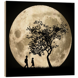 Wood print  Full Moon - Phil Perkins