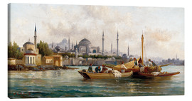 Canvas  Merchant vessels in front of Hagia Sophia, Istanbul - Anton Schoth