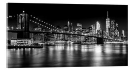 Acrylic glass  Night Skylines NEW YORK II black and white - Melanie Viola